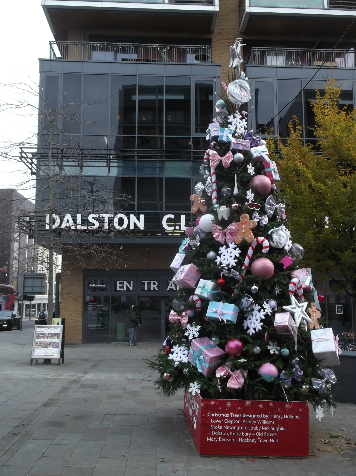 Only Hackney would have an array of Christmas trees decorated by fashion designers...